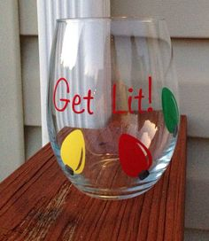 Get Lit Fun Christmas Stemless Wine Glass on Etsy, $12.00