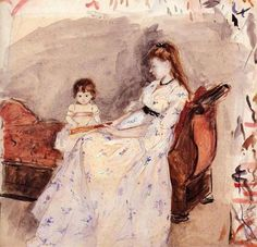 The Artist's Sister Edma with Her Daughter Jeanne via Berthe Morisot  Medium: watercolor