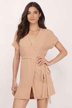 7c18f06378f7 Go out in style with this Wrap Dolman Skater Dress Long Ties