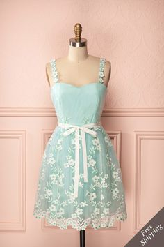 Henley - Mint green shimmery tulle dress with white flower embroidery