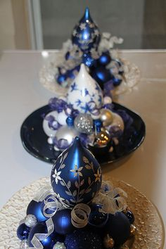 Christmas Centerpieces - Set of Three Blue, White, and Silver Unique Holiday Decorations #bestofEtsy #gifts