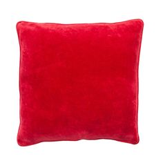 LYNETTE CUSHION RED LRG.  $99.95 AUD. 100% Cotton Velvet Cushion with Linen Piping - 60 x 60cm.  Colour: Red. Note: Every cushion is filled with a 100% feather insert.