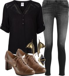 Gringotts Casual Outfit by hpstyle featuring a black shirtVero Moda black shirt, $44 / J Brand jeans, $335 / Adrienne Vittadini vintage shoes / Zimmermann cocktail ring / Steampunk jewelry