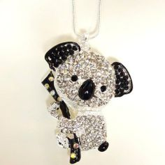 """Silver Tone Large Adorable Koala Bear 3D Pendant and Necklace Clear and Black Color Crystals Silver Plated Gift Boxed Fashion Jewelry lamont. $12.95. Comes in a Gift Box. Chain is 18"""" + 3"""" ext. Large  2"""" L x 1.5"""" W  Koala Bear Pendant  Clear and BlackColor Crystals. Beautiful Gift !"""