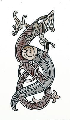 Viking dragon Art Print by gullinbursti Viking Dragon Tattoo, Celtic Dragon Tattoos, Norse Tattoo, Armor Tattoo, Wiccan Tattoos, Inca Tattoo, Samoan Tattoo, Viking Designs, Celtic Designs