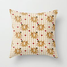 Gingerbread Family Country Plaid Throw Pillow by Spice -  20 x 20 inch $35.00 or with cover only $28.00