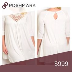 "Coming Tuesday! (Plus) White crochet dress White crochet neck dress. 95% rayon/ 5% spandex. Extremely soft and very stretchy! Bust easily stretches well beyond measurements  XL: L: 38"" B: 38"" 2x: L: 38"" B: 40"" 3x: L:  39"" B: 42"" ⭐️This item is brand new from manufacturer without tags.  🚫NO TRADES 💲Price is firm unless bundled 💰Ask about bundle discounts Availability: XL•2x•3x 2•2•2 Dresses Long Sleeve"