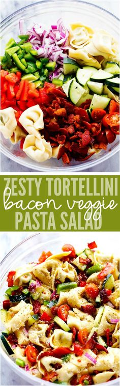 zesty italian salad with tortellini, bacon and vegetables. This salad ...
