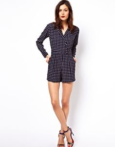 I know I'm getting ahead of myself, but this with tights and a cool clog or wedge heel in the fall would be AWESOME.   ASOS Romper in Geo Print