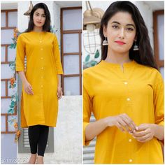Checkout this latest Kurtis Product Name: *Women Cotton Cambric Straight Solid Mustard Kurti* Fabric: Cotton Cambric Sleeve Length: Three-Quarter Sleeves Pattern: Solid Combo of: Single Sizes: XXL Country of Origin: India Easy Returns Available In Case Of Any Issue   Catalog Rating: ★4 (310)  Catalog Name: Women Cotton Cambric Straight Solid Mustard Kurti CatalogID_2219414 C74-SC1001 Code: 152-11730521-255