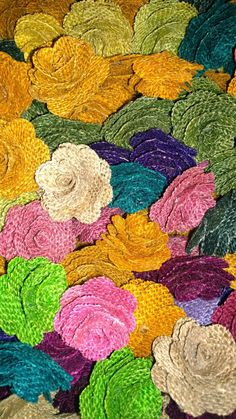 Burlap Flowers offered in a random assortment of different colors and approximately diameter each. Will make a great accent choice for your party or special occassion. This listing is for 1 dozen flowers. Twine Flowers, Diy Flowers, Colorful Flowers, Acrylic Painting Inspiration, Colored Burlap, Will And Grace, Rug Hooking, Ideias Fashion, Cross Stitch