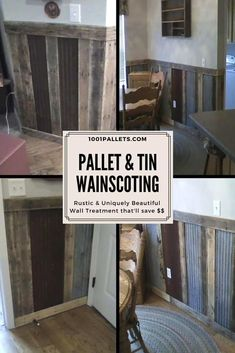 Build a beautiful DIY Pallet Wood & upcycled Tin Wainscoting! Get creative and network with friends and neighbors! You may get the tin for free like I did! I covered the edges of the tin, particularly around the corners. Rustic Wainscoting, Wainscoting Wall, Dining Room Wainscoting, Wainscoting Styles, Bathroom With Wainscotting, Used Pallets, Recycled Pallets, 1001 Pallets, Recycled Wood