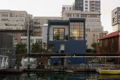 Amazing Floating Home with Unique Home Furniture: Sophisticated San Francisco Floating House Design Iconic Blue Painted Floating House, Small Places, Modern Contemporary, Beautiful Homes, San Francisco, Exterior, House Design, Mansions, Interior Design