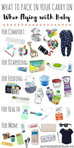 Flying with Baby: Pack these items in your carry on and guarantee a smooth travel day! // Travel with Kids Family Travel What to Pack Travel Tips With Baby, Traveling With Baby, Travel With Kids, Family Travel, Baby Travel, Family Vacations, Traveling Europe, Traveling Tips, Vacation Places