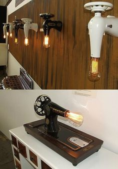 SEW ME lamp I really like old machines, big and small. For example a vintage typewriter [Kids pay attention, that's what people used to type a letter with. A sort of keyboard!] or a sewing machine. I think they are beautiful. And now someone turned a sewing machine…