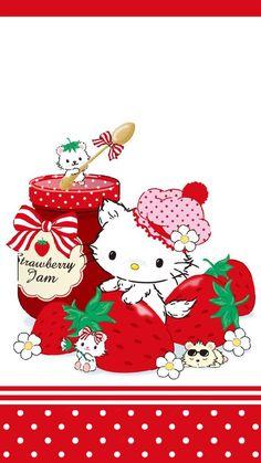 Sanrio Wallpaper, Kitty Wallpaper, Wallpaper Desktop, Wallpaper Ideas, Iphone Wallpapers, Strawberry Decorations, Hello Kitty Pictures, Kawaii Room, Sanrio Characters