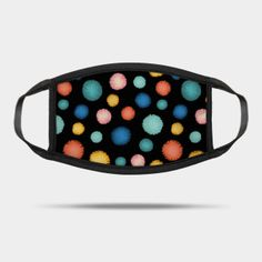 Masks by Sandra Hutter Designs | TeePublic Face Masks For Kids, Black Backgrounds, Turquoise Bracelet, Sunglasses Case, Pom Poms, Sprinkles, Prints, Colorful, Jewelry