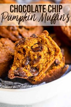 Soft and moist these pumpkin chocolate chip muffins are the perfect fall time breakfast treat.  Step-by-step photos help you conquer this easy pumpkin muffin recipe your whole family will love!   #pumpkin #fall #pumpkinmuffins #pumpkinandchocolate #muffinrecipe