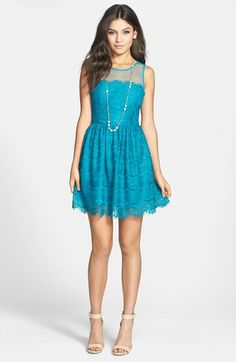 """En Crème Eyelash Lace Skater Dress Feathery eyelash lace and an ultra-sheer mesh yoke add a flirty dose of romance to this flouncy, scalloped skater dress. 32 1/2"""" length (size Medium). Back zip, open back, CBN button-and-loop closure. Lined."""