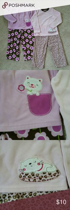 Cute Bundle of Little Girl's Pj's Two gently used pajama sets. Soft fleece material. Signs of washing but still great condition.  From a very clean, smoke-free, pet-free home Carter's Pajamas Pajama Sets