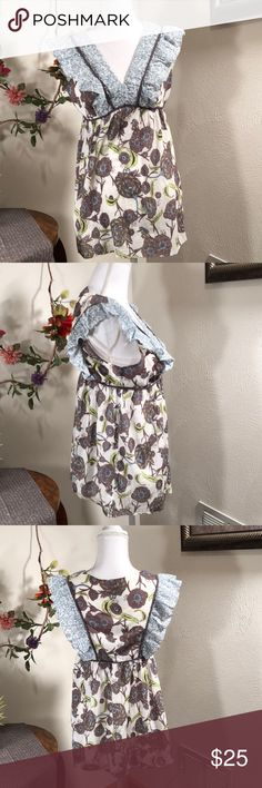 Anthropologie fei Top! Sz 4 Pretty sleeveless top by Anthropologie fei.  Size 4. Zippers up side.  Gorgeous blues, gray purple colors with ruffles!  Measures 25 inches from very top to bottom hem. Anthropologie Tops