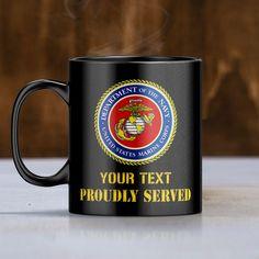 Personalize Mug - U.S Marines Logo - Black Coffee Mug 11 Oz