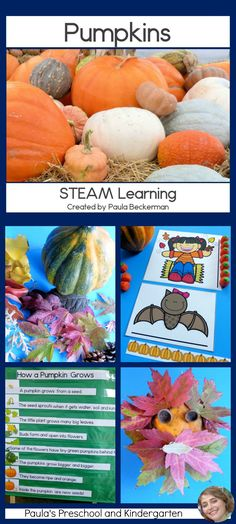 Do you need some easy ideas and activities to make your fall pumpkin unit shine? This fun resource covers science, technology, engineering art & math skills (STEM) for preschool, kindergarten and first grade students. Pumpkins aren't just for Halloween Preschool Science, Teaching Kindergarten, Kindergarten Activities, Science Activities, Teaching Ideas, Stem Projects, Science Fair Projects, Science Lessons, Projects For Kids