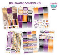 Halloween Full Weekly kit, Autumn Planner Stickers, perfect for Erin Condren Planner and other planners. de SandiaStickers en Etsy