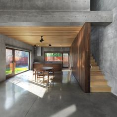 mmm concrete & wood, a heavenly union. Concrete Beaumont House by Henri Cleinge Concrete Wood, Concrete Design, Concrete Floors, Concrete Houses, Polished Concrete, Beaumont House, Canadian House, Concrete Interiors, Beton Design