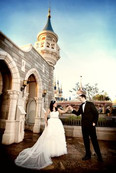 Bride and groom at New Fantasyland in Magic Kingdom #Disney