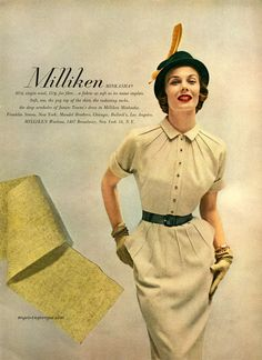 Junior Towne dress in Milliken Woolens 1950 - model Lillian Marcuson