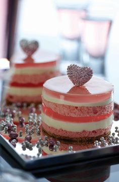 Pink Diamond Heart: Dom Pérignon Rosé Jelly, White Chocolate Mousse, French Vanilla Chiffon Sponge. Adorned with Diamonds. -Ms. B's Cakery