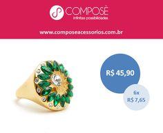 Gosta de um anel diferentemente lindo? Nós temos este e muitos outros. Vem aqui conferir: www.composeacessorios.com.br/anel-flor-dourada-com-esmeraldas-e-strass  #composeacessorios #aneisdiferentes #verdeesmeralda