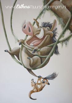 Disney Baby Rooms, Baby Disney, Winnie The Pooh Nursery, Kids Room Murals, Le Roi Lion, Graffiti, Wall Art, Drawings, Painting