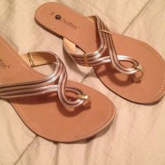 Gold flip flops Gold and brown flip flop sandals   New chatties Shoes