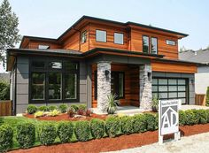 Look what got built: Architectural Designs Modern Prairie House Plan - Architecture and Home Decor - Bedroom - Bathroom - Kitchen And Living Room Interior Design Decorating Ideas - Prairie House, Prairie Style Houses, Big Bedrooms, Modern House Design, Exterior Design, Future House, Planer, Building A House, Architecture Design