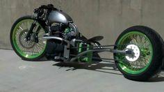 Honda Bar Hopper Bobber/Chopper Custom Bike with Harley-Davidson Wheels.    http://loosespokz.com/