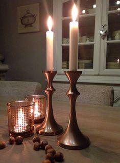 Christmas Colors, Vintage Kitchen, Candlesticks, Lanterns, Candle Holders, Copper, Cottage, Colours, Vases