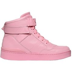 Moschino Women 35mm Leather High Top Sneakers ($585) ❤ liked on Polyvore featuring shoes, sneakers, pink, pink high tops, leather shoes, leather trainers, moschino shoes and leather high tops