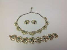 Vintage Signed Coro Green and Goldtone Parure by GrandmaRietas on Etsy