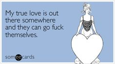 My true love is out there somewhere and they can go fuck themselves.  More at http://amzn.to/someecards