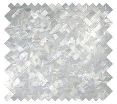 Finalist for kitchen backsplash White Groutless Herringbone Pearl Tile - Subway Tile Outlet