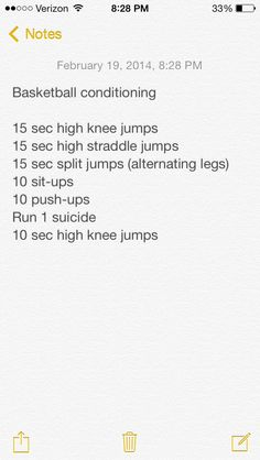 Basketball conditioning...great cardio. Repeat 3 times with 1.5 minute intervals for best results!