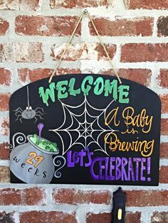 Halloween Baby Shower Sign by SarahKKreations on Etsy
