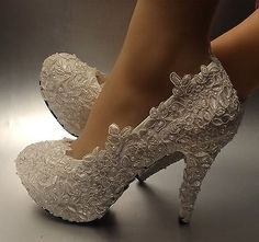 "3''/ 4"" heel Ivory / white pearl lace Wedding shoes Bridal high pumps size 5-11"