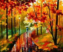 "Fall Park - Leonid Afremov Mixed Media/oil on Canvas 24""x30"" Comes Stretched!"