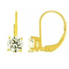 14k Gold Plated Sterling Silver Round-Cut Cubic Zirconia Leverback Earrings (1 cttw) Amazon Curated Collection. $19.00. Made in China