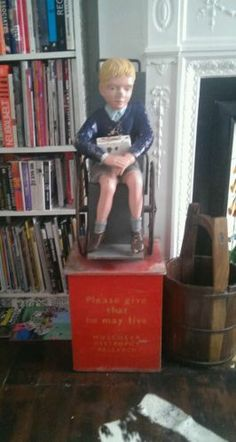 Vintage charity money box boy in wheelchair Vintage Mannequin, Money Box, Furniture Projects, Fundraising, Charity, Children, Boys, Waiting, Childhood