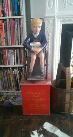 Vintage charity money box boy in wheelchair | eBay