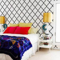 Great site to find stencils.  Becuase me cutting sounds like disaster.  Casablanca Trellis Moroccan Stencil